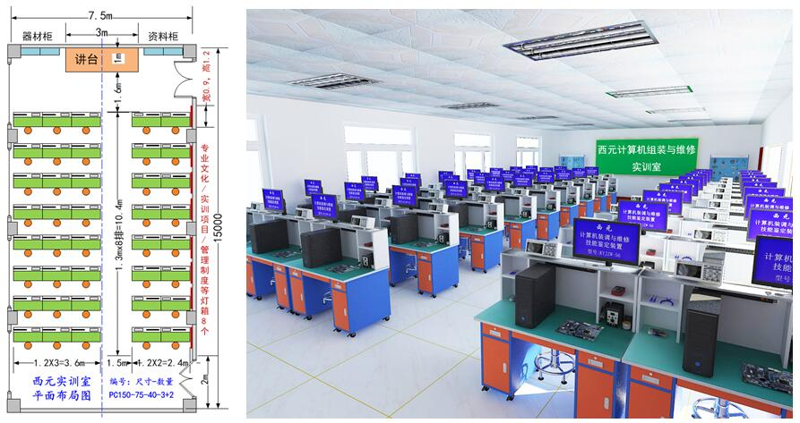 计算机组装与维修实训室平面布局图、立体示意图