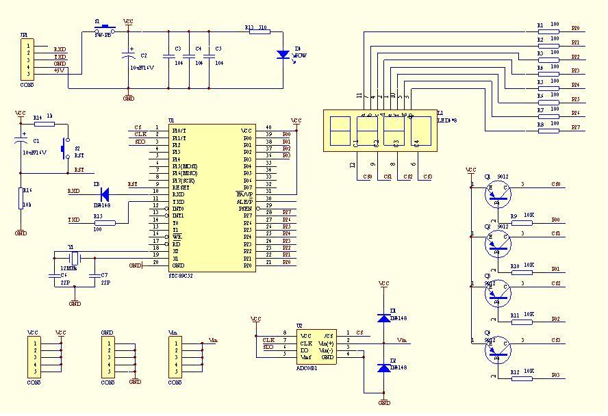 简易数字电压表电路原理图